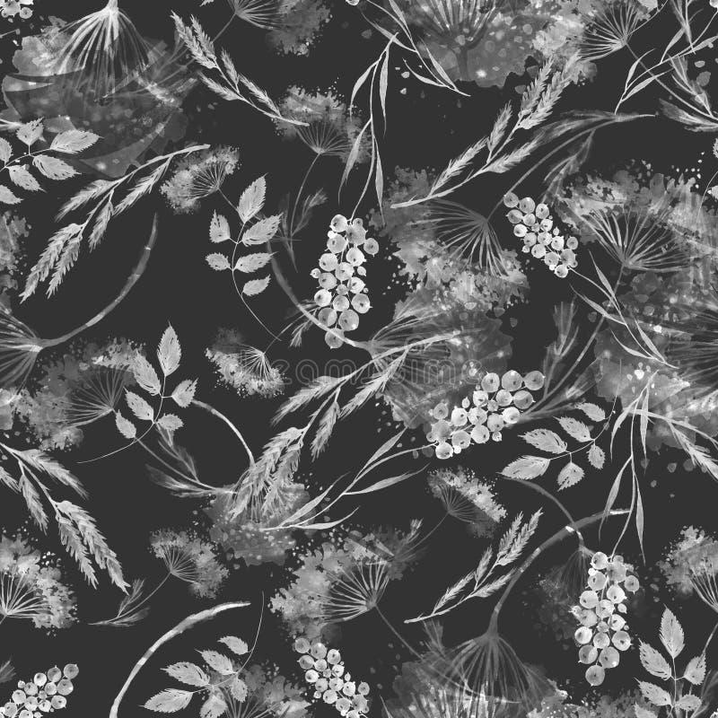 Waterverf naadloos patroon, achtergrond met een bloemenpatroon Waterverfachtergrond, die met de herfst met bosbloemen trekken royalty-vrije illustratie