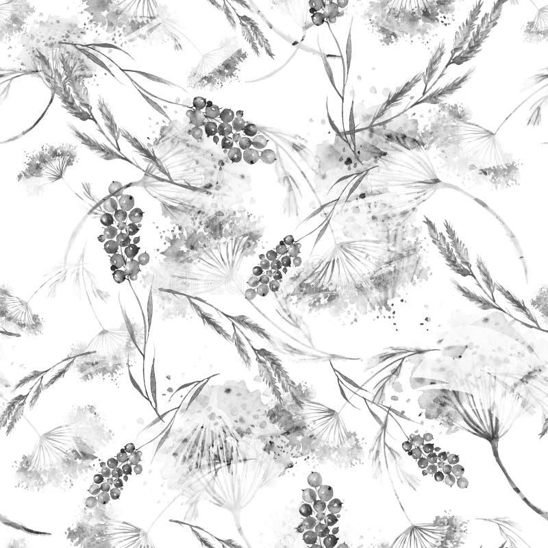 Waterverf naadloos patroon, achtergrond met een bloemenpatroon Waterverfachtergrond, die met de herfst met bosbloemen trekken stock illustratie