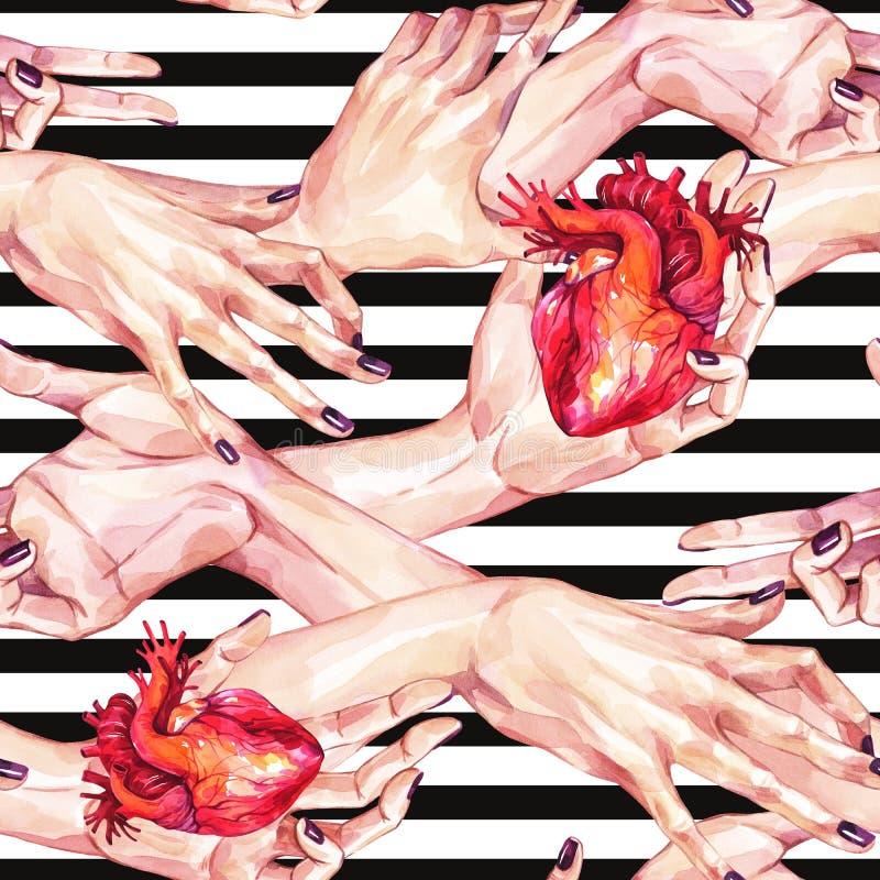 Waterverf naadloos patroon, inzameling die van meisjeshanden anatomische harten in realistische stijl op strepen houden gebaren vector illustratie