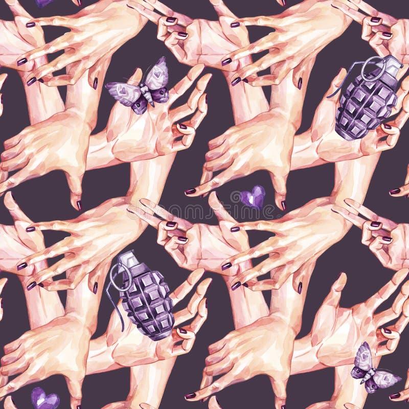 Waterverf naadloos patroon, inzameling die van meisjeshanden bommen in realistische stijl houden Gebaren en handaanrakingen royalty-vrije illustratie