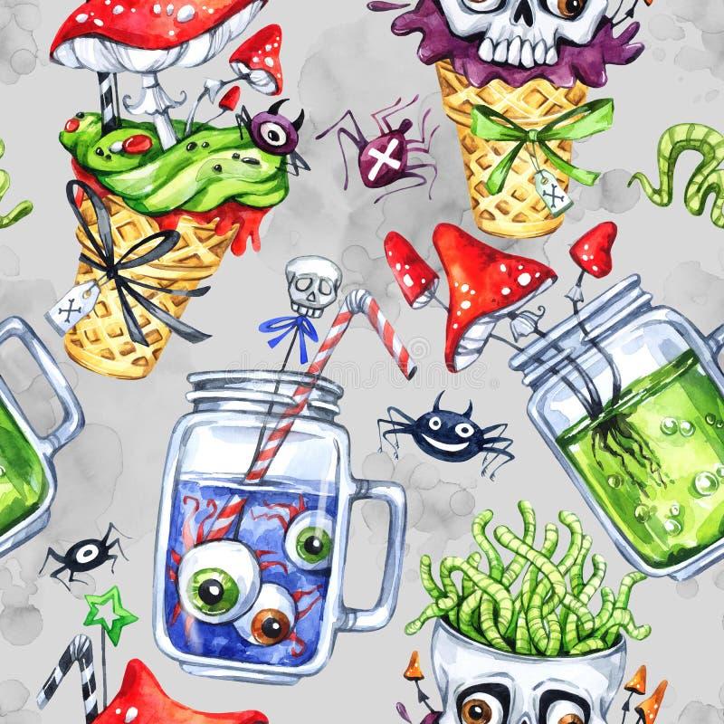 Waterverf naadloos patroon, kegel met schedel, glaskoppen met drankje, ogen, amanieten Halloween-vakantieillustratie vector illustratie