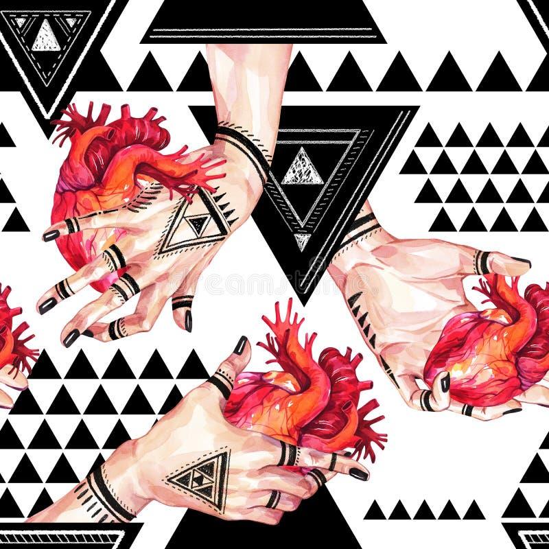 Waterverf naadloos patroon, meisjeshanden die met mehendi anatomische harten op geometrische achtergrond houden Mens, lichaamsdel royalty-vrije illustratie