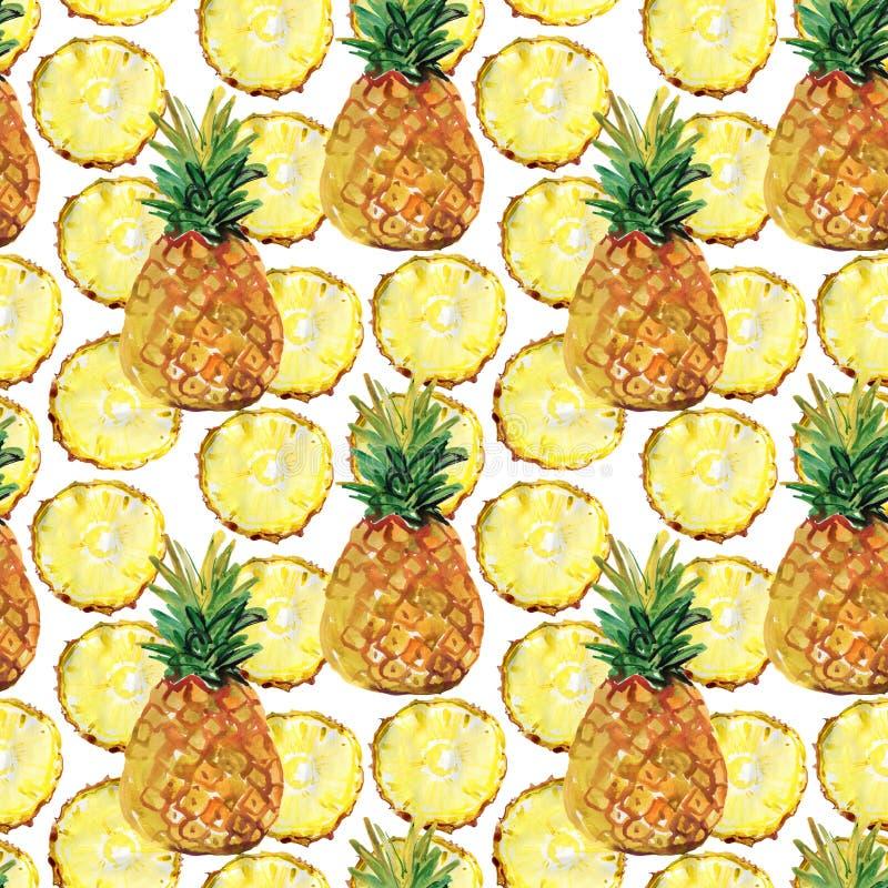 Waterverf naadloos patroon met ananassen stock illustratie