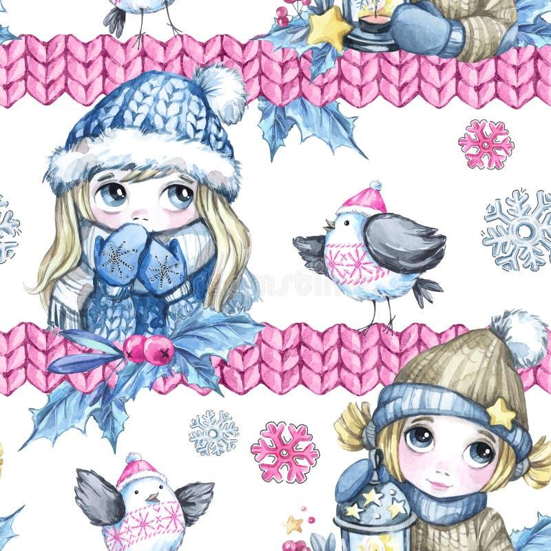 Waterverf naadloos patroon met beeldverhaal leuke kinderen, vliegende vogels en gebreide grenzen Nieuw jaar viering royalty-vrije illustratie