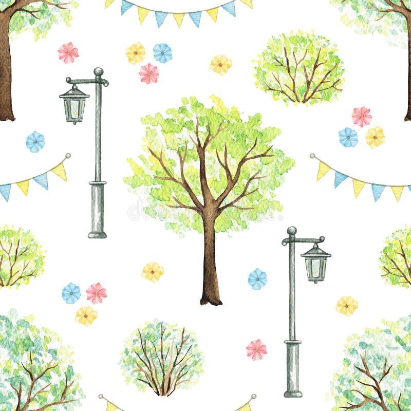 Waterverf naadloos patroon met beeldverhaalbloemen, bomen, struiken, slinger en straatlantaarn in park vector illustratie