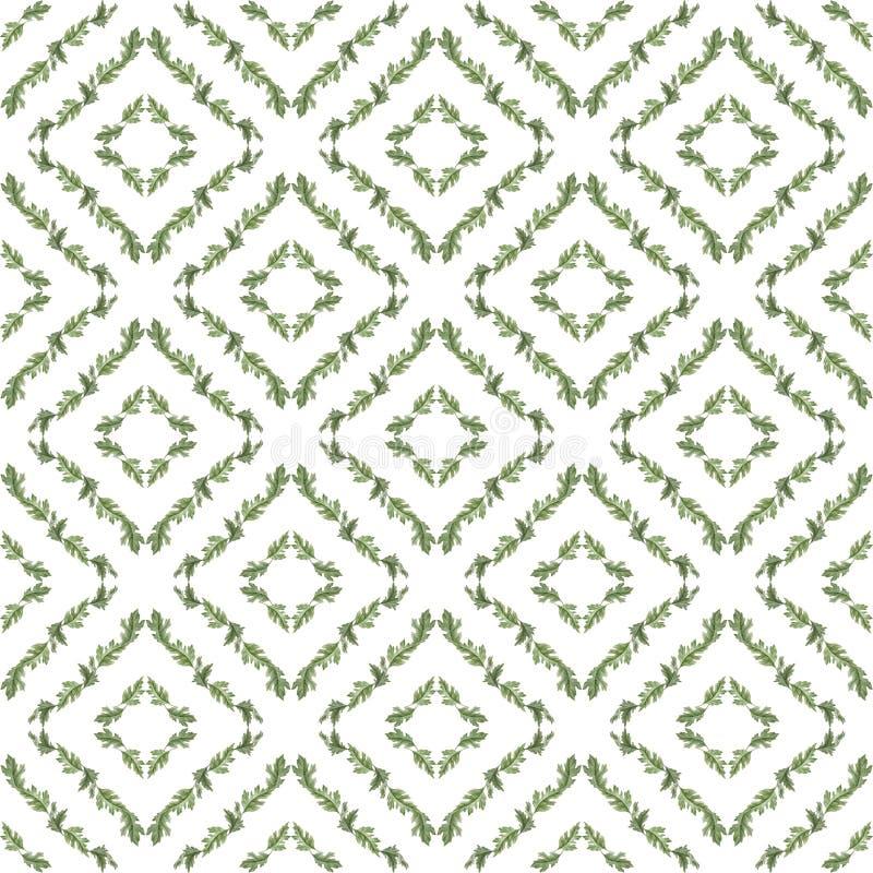 Waterverf naadloos patroon met bladeren stock illustratie