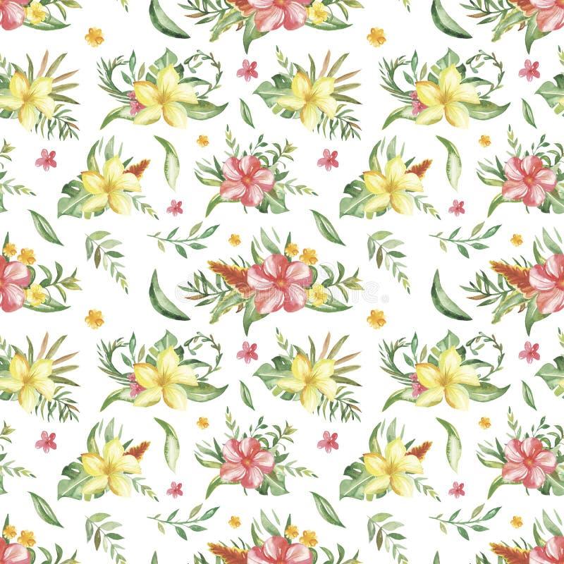 Waterverf naadloos patroon met boeketten van tropische bloemen, bladeren en installaties stock illustratie