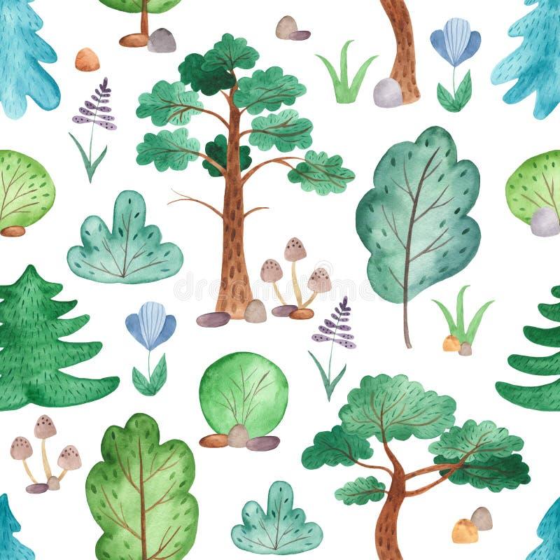 Waterverf naadloos patroon met bomen, pijnbomen, sparren, bloemen royalty-vrije illustratie
