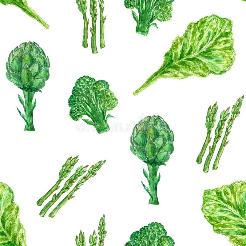 Waterverf naadloos patroon met broccoli, asperge en artisjok stock illustratie