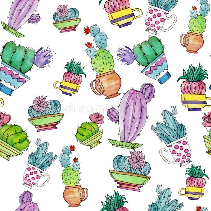 Waterverf naadloos patroon met cactussen