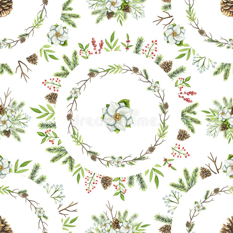 Waterverf naadloos patroon met de samenstellingen van Kerstmiscirkels vector illustratie