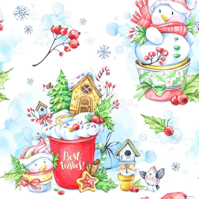 Waterverf naadloos patroon met een kop van room, peperkoek en sprookje snowmens stock illustratie