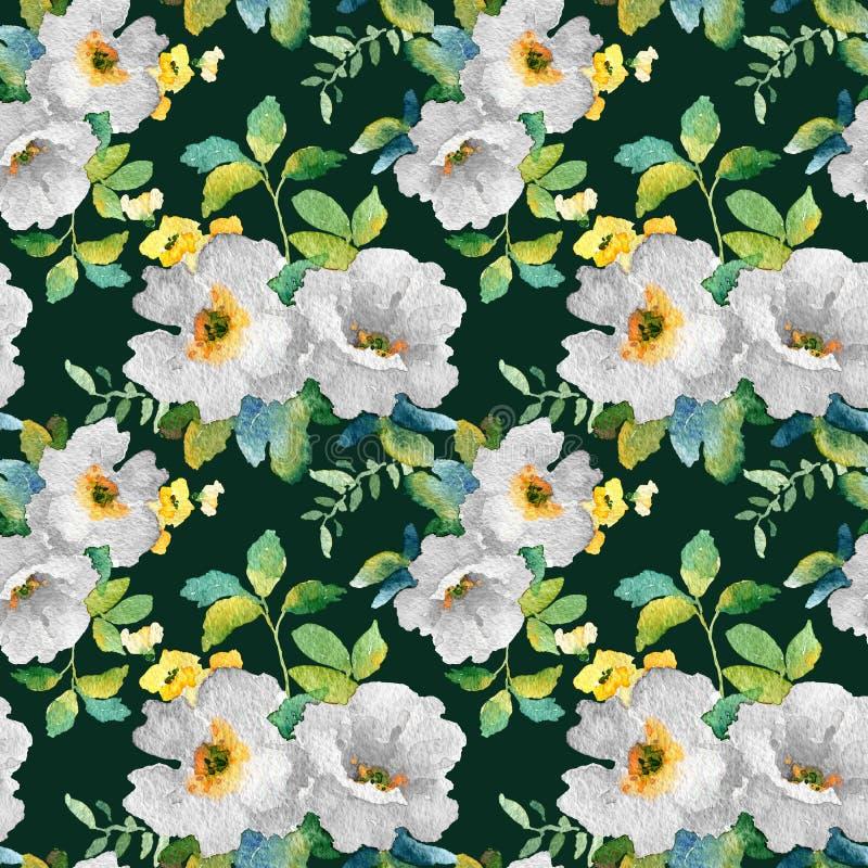 Waterverf naadloos patroon met eenvoudige kleurrijke bloemen stock illustratie
