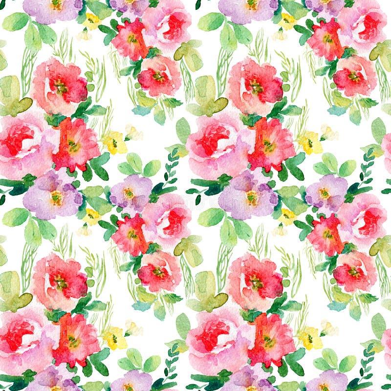 Waterverf naadloos patroon met eenvoudige kleurrijke bloemen royalty-vrije illustratie