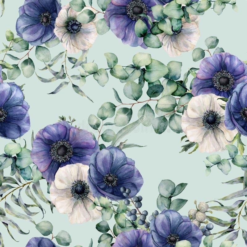 Waterverf naadloos patroon met eucalyptusbladeren, blauwe en witte anemoon Hand geschilderde bloemen, groene brunch op blauw royalty-vrije illustratie