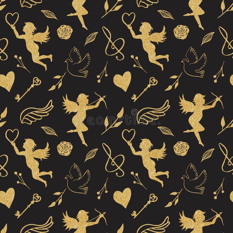 Waterverf naadloos patroon met gouden engelen, harten, vogels, vleugels stock illustratie