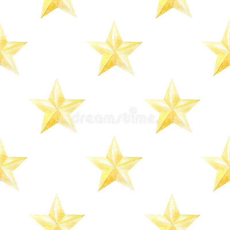 Waterverf naadloos patroon met gouden sterren Kerstmis of nieuwe jaardruk voor verpakkend document, kaart of textielontwerp stock illustratie