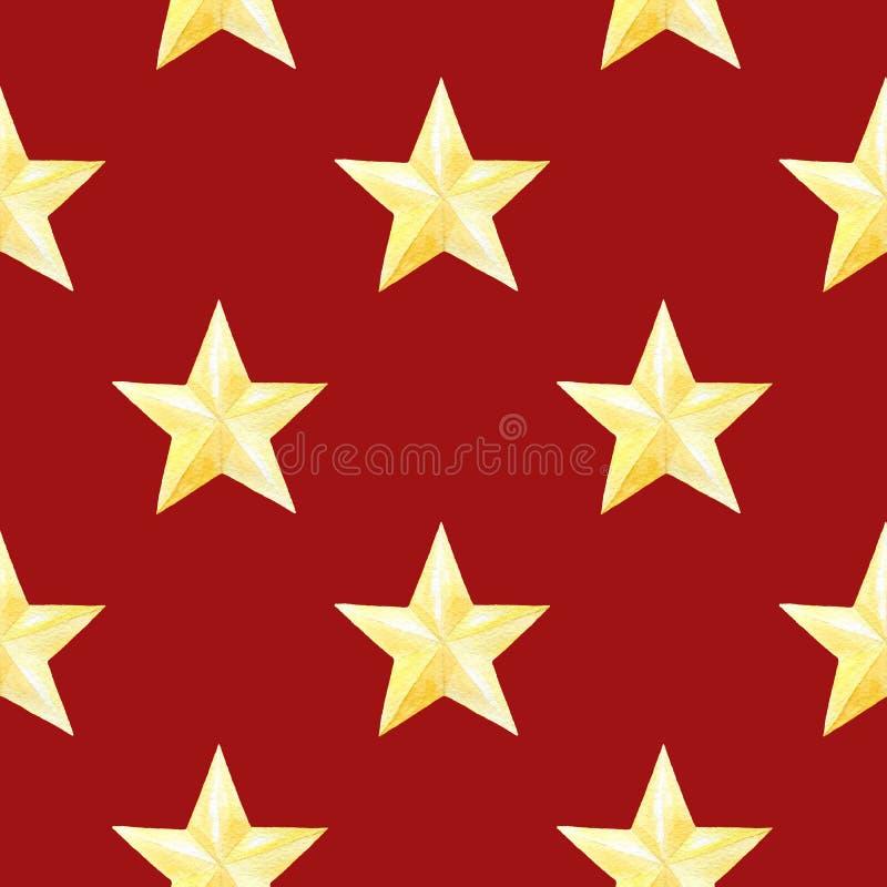 Waterverf naadloos patroon met gouden sterren op rode achtergrond Kerstmis of nieuwe jaardruk voor verpakkend document, kaart of vector illustratie