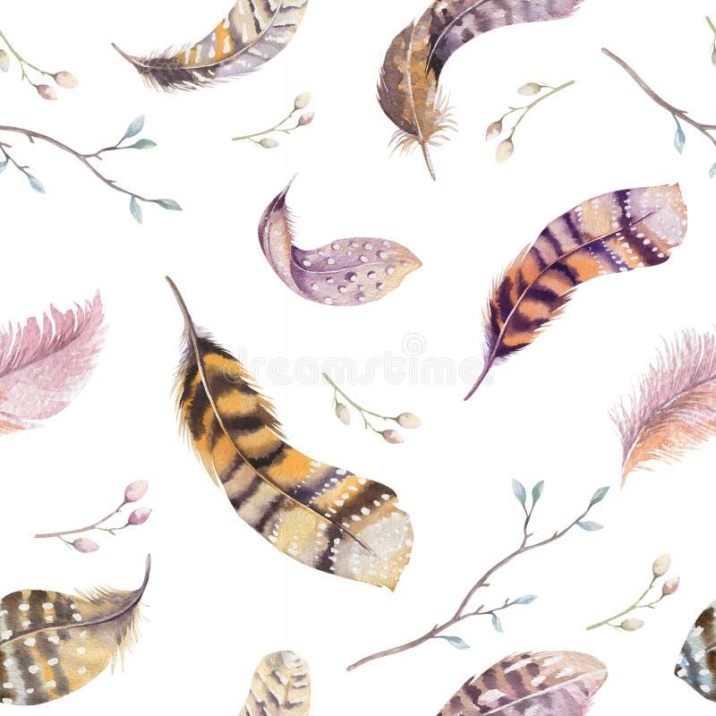 Waterverf naadloos patroon met hand getrokken veren vector illustratie