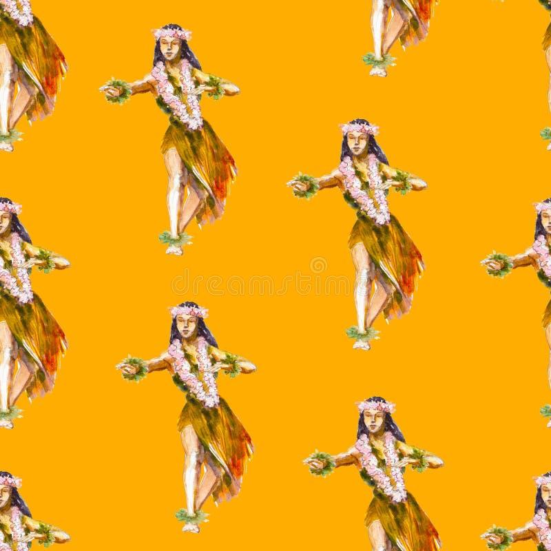 Waterverf naadloos patroon met Hawaiiaans meisje op oranje achtergrond, heldere hand-drawn achtergrond royalty-vrije illustratie
