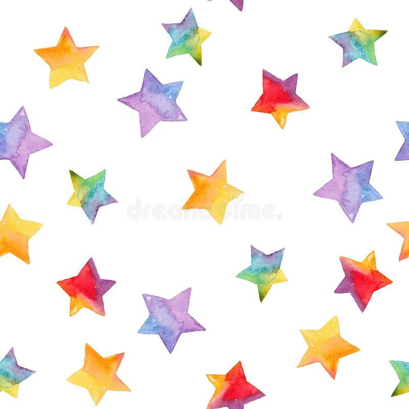 Waterverf naadloos patroon met heldere sterren Hand geschilderde illu royalty-vrije illustratie