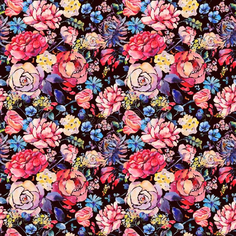 Waterverf naadloos patroon met hrysanthemums, rozen royalty-vrije illustratie
