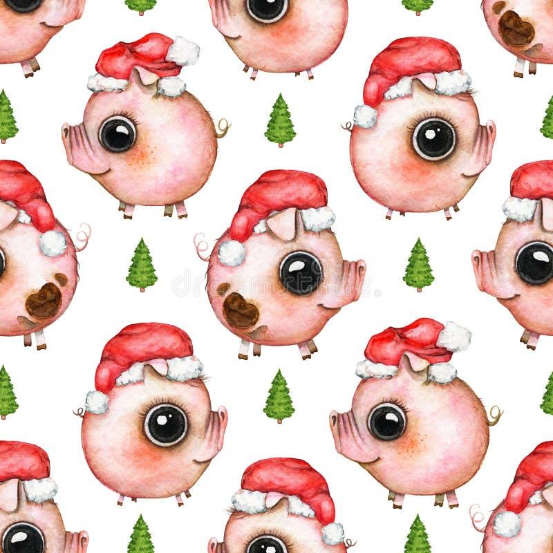 Waterverf naadloos patroon met Kerstboom en varkens in Sant vector illustratie