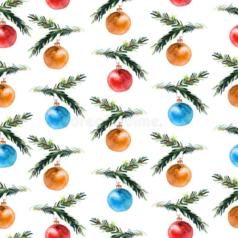 Waterverf naadloos patroon met Kerstmisballen vector illustratie