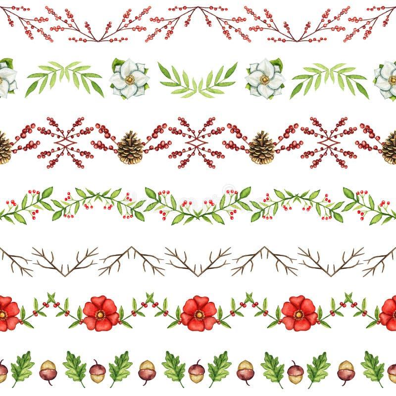 Waterverf naadloos patroon met Kerstmisornament stock illustratie