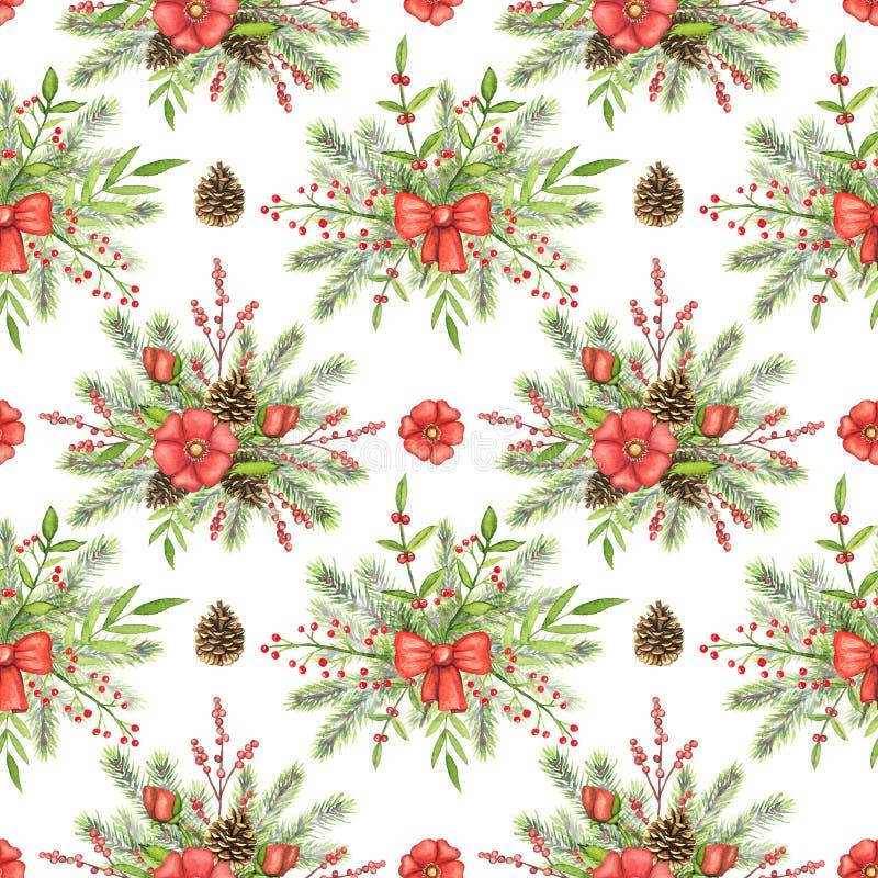 Waterverf naadloos patroon met Kerstmissamenstellingen stock illustratie