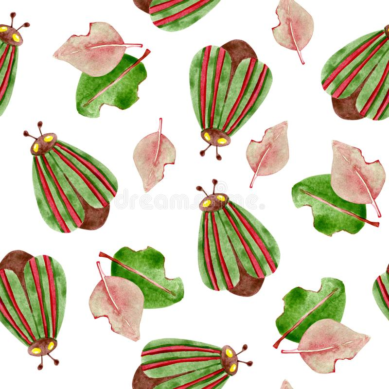 Waterverf naadloos patroon met kevers en installaties Voor ontwerp van achtergrond, patroon, behang, omslag, druk, stof, kleren stock illustratie
