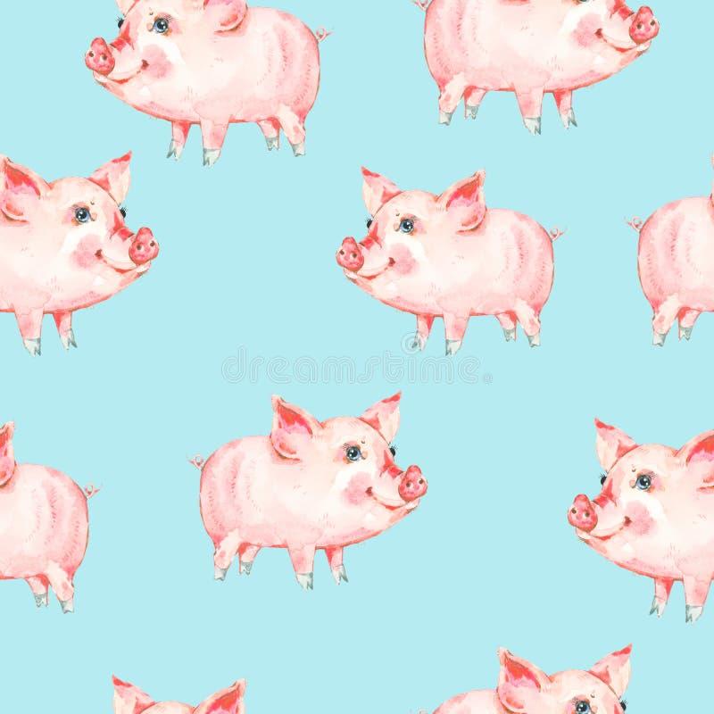 Waterverf naadloos patroon met leuke piggy stock foto