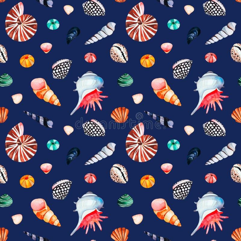 Waterverf naadloos patroon met multicolored zeeschelpen Donkere achtergrond vector illustratie