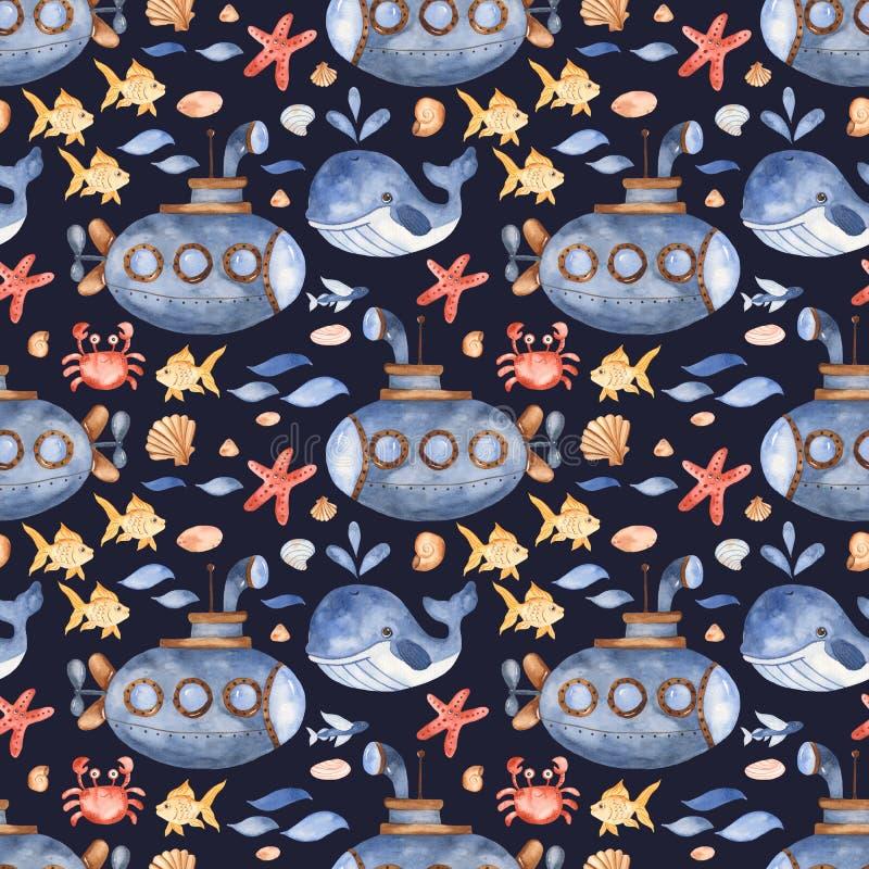 Waterverf naadloos patroon met onderzeese, onderwaterschepselen, zeeschelpstenen vector illustratie