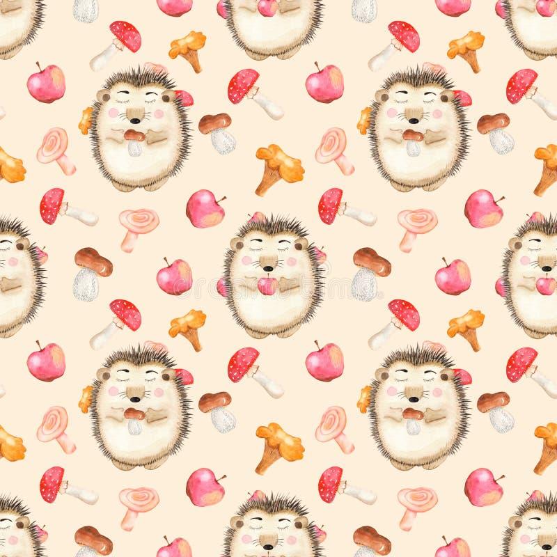 Waterverf naadloos patroon met paddestoelen, leuke beeldverhaalegel en appelen vector illustratie