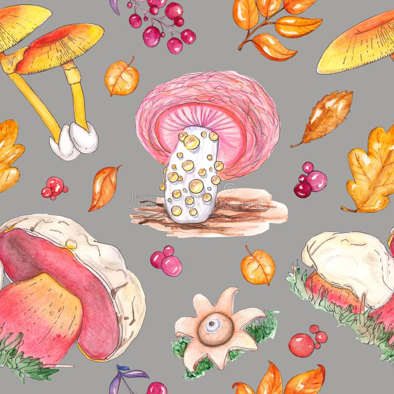 Waterverf naadloos patroon met paddestoelpaddestoelen royalty-vrije illustratie