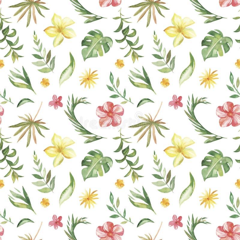 Waterverf naadloos patroon met palmbladen en tropische bloemen en installaties royalty-vrije illustratie