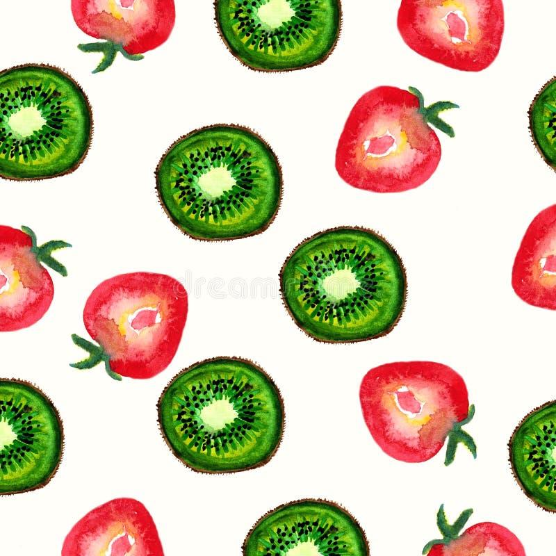 Waterverf naadloos patroon met plakken van aardbei en kiwi Hand geschilderde textuur op een witte achtergrond vector illustratie