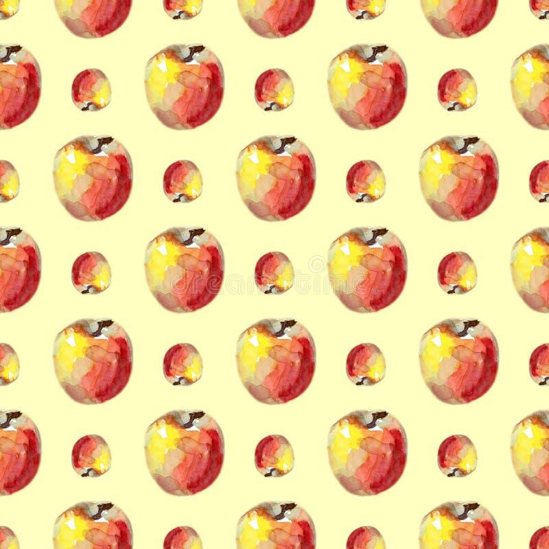 Waterverf naadloos patroon met rode appelen De illustratie van het de zomerfruit royalty-vrije illustratie
