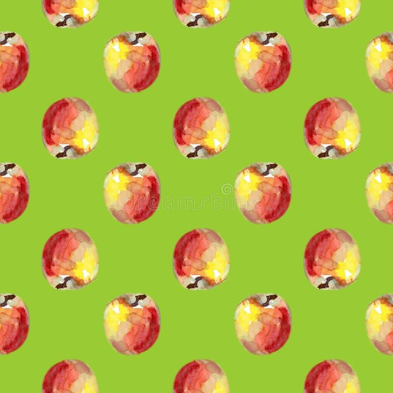 Waterverf naadloos patroon met rode appelen De illustratie van het de zomerfruit Hand getrokken ontwerp vector illustratie