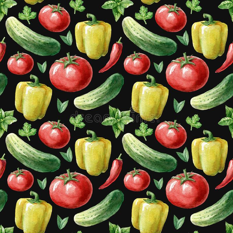Waterverf naadloos patroon met rood tomaat, peper, komkommer en groen op de witte achtergrond watercolor stock illustratie