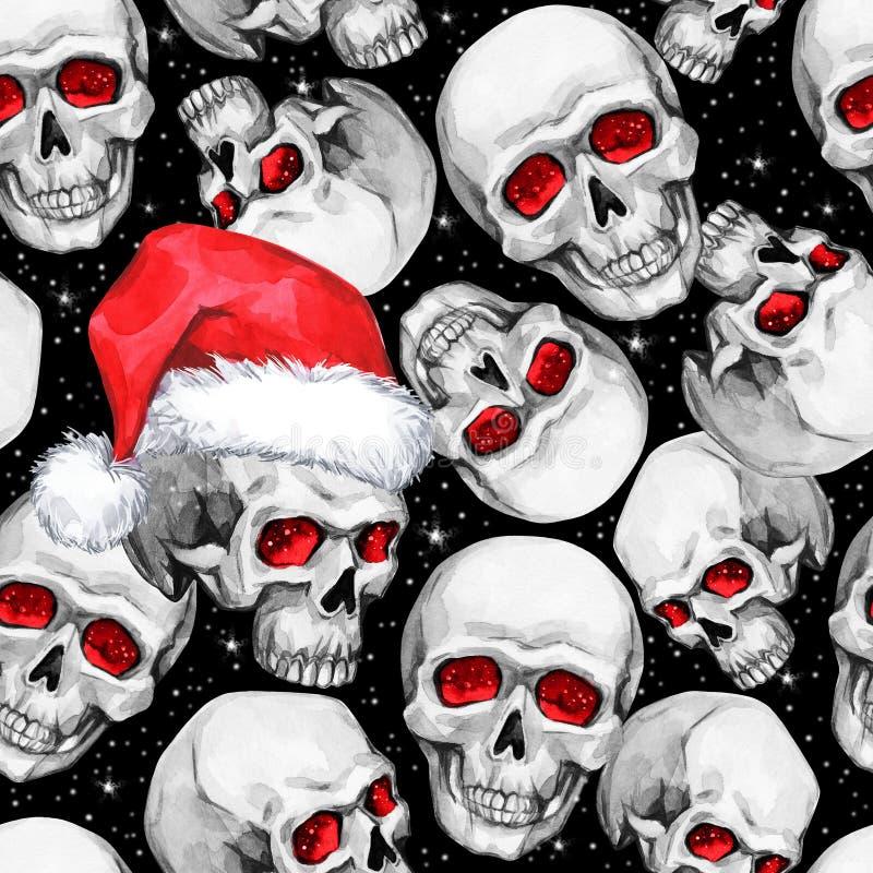 Waterverf naadloos patroon met schetsmatige schedels in Kerstmanhoed Cretivenieuwjaar De illustratie van de viering Kan binnen ge vector illustratie