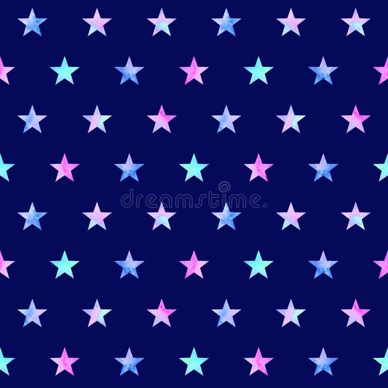 Waterverf naadloos patroon met sterren royalty-vrije illustratie