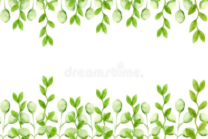 Waterverf naadloos patroon met twijgen en bladeren Waterverftekening voor ontwerp van stof, achtergrond, behang, dekking, kaarten stock illustratie