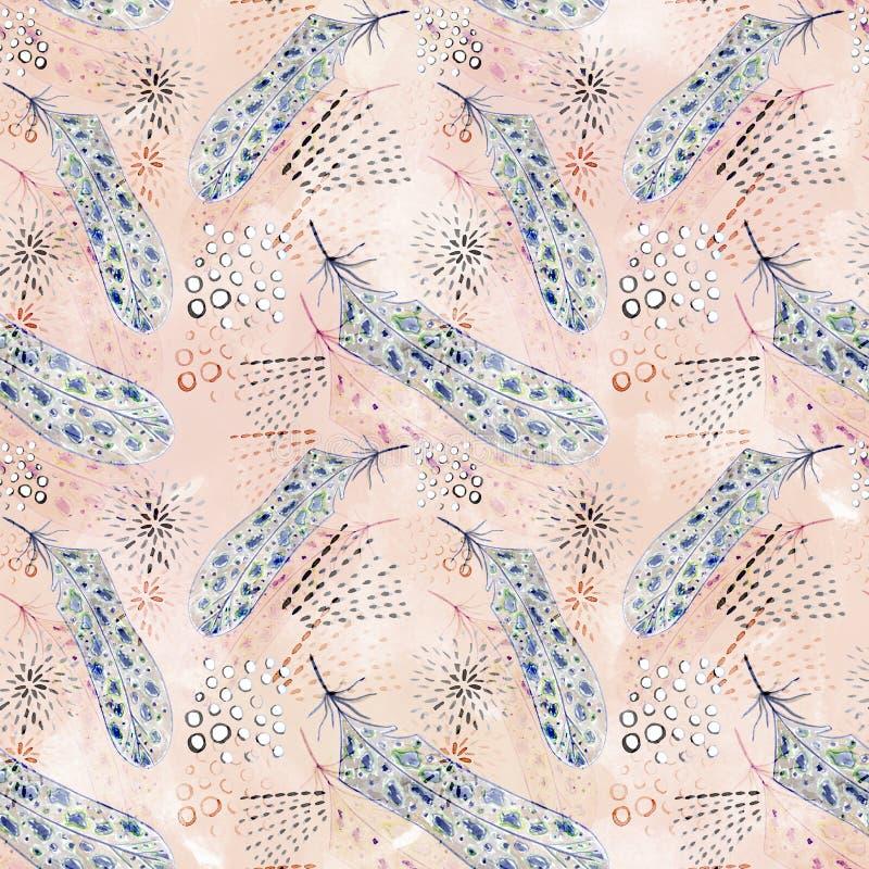 Waterverf naadloos patroon met veren abstracte decoratieve elementen stock illustratie
