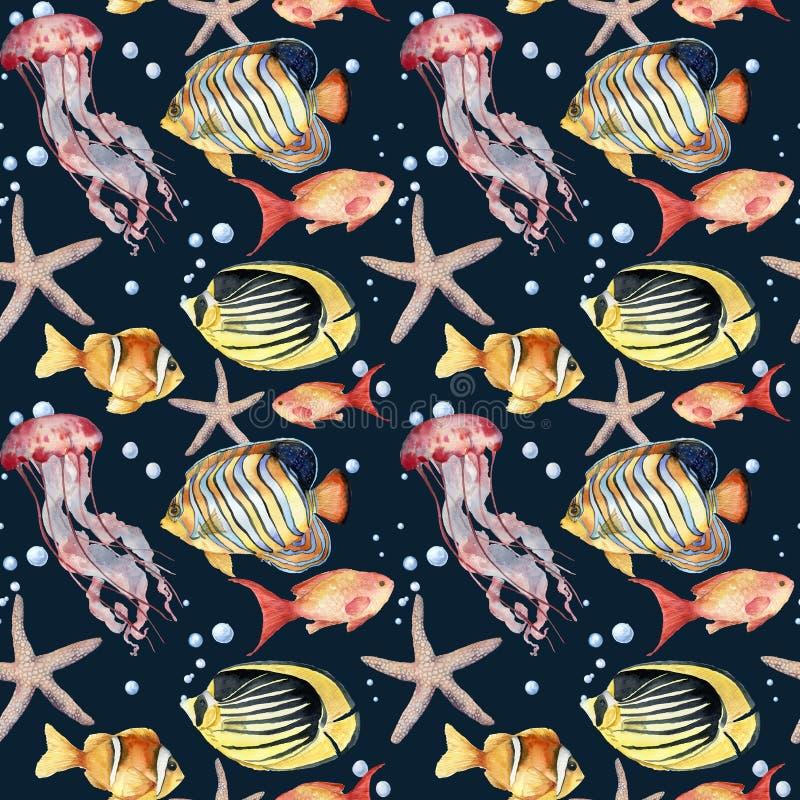 Waterverf naadloos patroon met vissen op blauwe achtergrond De hand schilderde tropische vissen, zeester, kwallen, en lucht stock illustratie