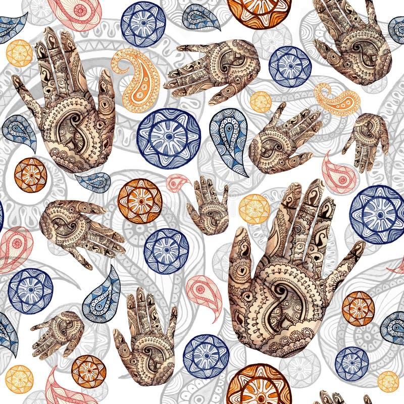 Waterverf naadloos patroon op Indisch thema, Turkse komkommer in rode en oranje kleuren met menselijke handen, palmen met een pat vector illustratie