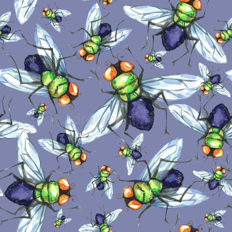 Waterverf naadloos patroon, troep van vliegen Halloween-vakantieillustratie grappige insecten Kan als prentbriefkaar worden gebru royalty-vrije illustratie