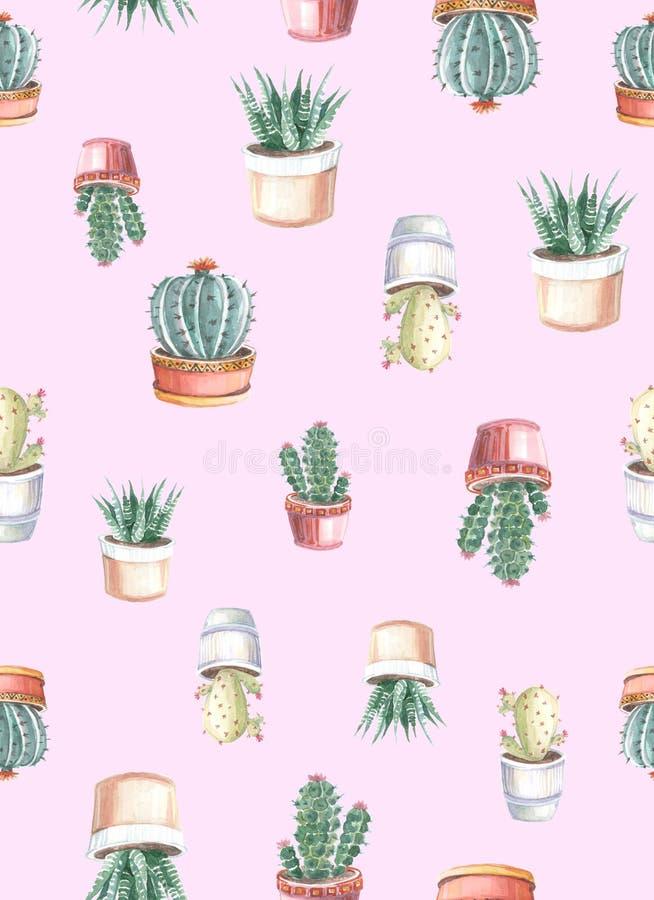 waterverf naadloos patroon van cactussen en succulents watercolor stock illustratie
