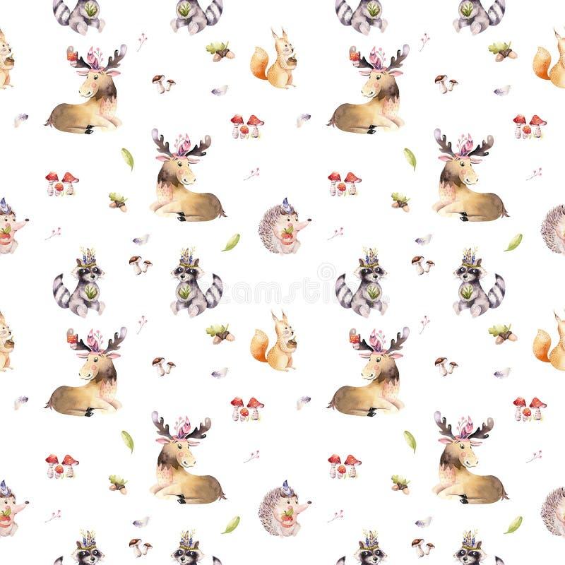 Waterverf naadloos patroon van leuk de egel, de eekhoorn en de Amerikaanse elandendier van het babybeeldverhaal voor nursary, bos stock afbeelding